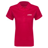 Ladies Pink Raspberry Contrast Stitch Micropique Sport Wick Polo-Dassault Falcon