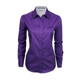 Ladies Purple Twill Button Down Long Sleeve-Dassault Falcon