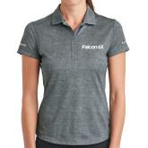 Ladies Nike Dri Fit Charcoal Crosshatch Polo-Falcon 6X