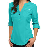 Ladies Glam Turquoise 3/4 Sleeve Blouse-Falcon 6X