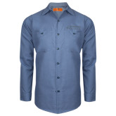Red Kap Postman Blue Long Sleeve Industrial Work Shirt-Dassault Falcon