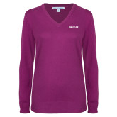 Ladies Deep Berry V Neck Sweater-Falcon 6X