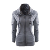 Ladies Sport Wick Stretch Full Zip Charcoal Jacket-Dassault Falcon