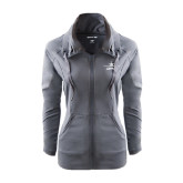 Ladies Sport Wick Stretch Full Zip Charcoal Jacket-Twinjet Craft Stacked - Falcon 2000, Falcon 2000EX