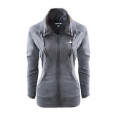 Ladies Sport Wick Stretch Full Zip Charcoal Jacket-Falcon 7X Craft
