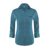 Ladies Red House Teal 3/4 Sleeve Shirt-Dassault Falcon