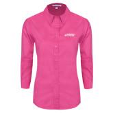 Ladies Tropical Pink Long Sleeve Twill Shirt-Dassault Falcon