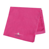Pink Beach Towel-Twinjet Craft Stacked - Falcon 2000, Falcon 2000EX