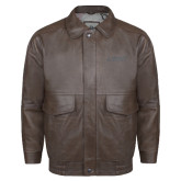 Brown Leather Bomber Jacket-Dassault Falcon