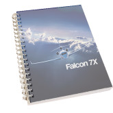 Clear 7 x 10 Spiral Journal Notebook-Falcon 7X Over Mountains