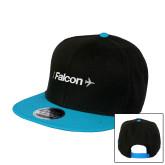 Black/Sapphire Wool Blend Flat Bill Snapback Hat-Falcon