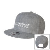 Heather Grey Wool Blend Flat Bill Snapback Hat-Dassault Falcon