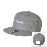 Heather Grey Wool Blend Flat Bill Snapback Hat-Falcon
