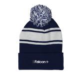 Navy/White Two Tone Knit Pom Beanie w/Cuff-Falcon
