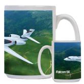 Full Color White Mug 15oz-Falcon 5X Over Green Landscape