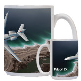 Full Color White Mug 15oz-Falcon 7X Over Beach