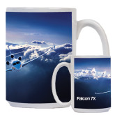 Full Color White Mug 15oz-Falcon 7X Over Mountains