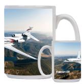 Full Color White Mug 15oz-Falcon 8X Over River