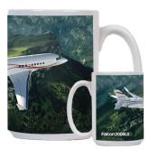 Full Color White Mug 15oz-Falcon 2000LXS Over Green Mountain