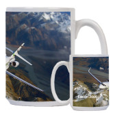 Full Color White Mug 15oz-Falcon 2000S Over Snowy Mountain