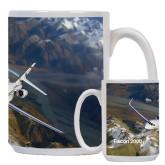 Full Color White Mug 15oz-Falcon 2000S Over Snowy Mountain