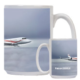 Full Color White Mug 15oz-Falcon 2000LX Silver Lining