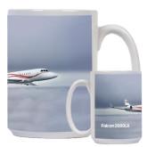 Full Color White Mug 15oz-Falcon 2000LX Silver Lining