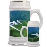 Full Color Decorative Ceramic Mug 22oz-Falcon 5X Over Green Landscape