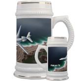 Full Color Decorative Ceramic Mug 22oz-Falcon 7X Over Beach