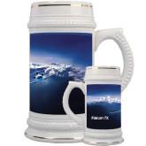 Full Color Decorative Ceramic Mug 22oz-Falcon 7X Over Mountains