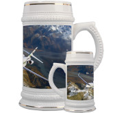 Full Color Decorative Ceramic Mug 22oz-Falcon 2000S Over Snowy Mountain