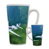 Full Color Latte Mug 17oz-Falcon 5X Over Green Landscape
