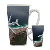 Full Color Latte Mug 17oz-Falcon 7X Over Beach