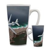 Full Color Latte Mug 17oz-Falcon 7X Over Beach