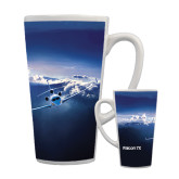 Full Color Latte Mug 17oz-Falcon 7X Over Mountains