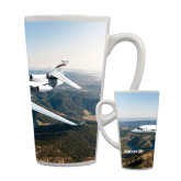 Full Color Latte Mug 17oz-Falcon 8X Over River