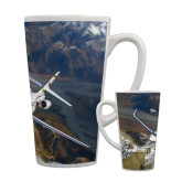 Full Color Latte Mug 17oz-Falcon 2000S Over Snowy Mountain