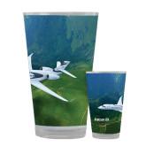 Full Color Glass 17oz-Falcon 5X Over Green Landscape