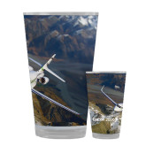 Full Color Glass 17oz-Falcon 2000S Over Snowy Mountain