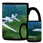 Full Color Black Mug 15oz-Falcon 5X Over Green Landscape