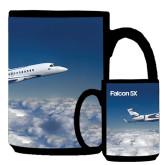 Full Color Black Mug 15oz-Falcon 5X Over Clouds