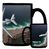 Full Color Black Mug 15oz-Falcon 7X Over Beach