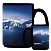 Full Color Black Mug 15oz-Falcon 7X Over Mountains