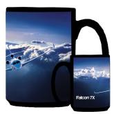 Full Color Black Mug 15oz-Falcon 7X Over Mountains