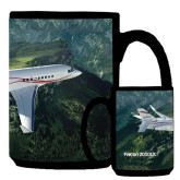Full Color Black Mug 15oz-Falcon 2000LXS Over Green Mountain