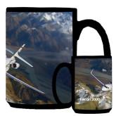 Full Color Black Mug 15oz-Falcon 2000S Over Snowy Mountain