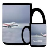 Full Color Black Mug 15oz-Falcon 2000LX Silver Lining