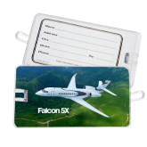 Luggage Tag-Falcon 5X Over Green Landscape