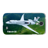 White Samsung Galaxy S4 Cover-Falcon 5X Over Green Landscape