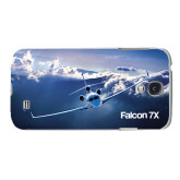 White Samsung Galaxy S4 Cover-Falcon 7X Over Mountains